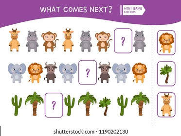 What comes next educational children game. Kids activity sheet,  Cartoon african animals and plants.