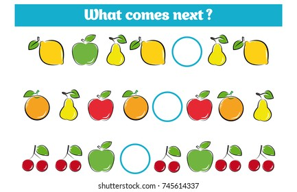What comes next educational children game. Kids activity sheet, training logic, continue the row task with colorful simple shapes. Vector illustration