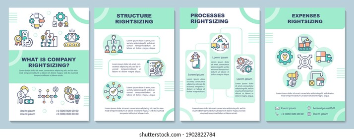 What is company rightsizing brochure template. Structure rightsizing. Flyer, booklet, leaflet print, cover design with linear icons. Vector layouts for magazines, annual reports, advertising posters