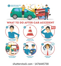 What to do after a car accident infographic banner. Auto damage scene on the road. Inform insurance and call police, check for injury. Isolated vector illustration in cartoon style