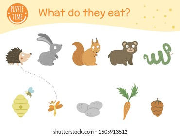 What do they eat. Matching activity for children with animals and food they eat. Funny woodland game for kids. Logical quiz worksheet.