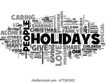 WHAT TO DO WHEN YOU ARE ALONE FOR THE HOLIDAYS TEXT WORD CLOUD CONCEPT