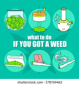 """what to do if you got a weed"" series. EPS 10. Vector illustration(poster) in line art style.  6 Isolated object."