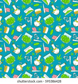 """What to do if you got a weed"" series. Vector seamless pattern. 7 objects. Line art style. EPS 10"