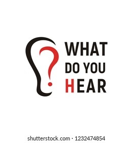 What Do You Hear Logo. Creative Design use question mark as part of ear