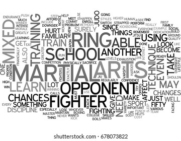WHAT DOES IT TAKE TO BE A MIXED MARTIAL ARTS FIGHTER TEXT WORD CLOUD CONCEPT