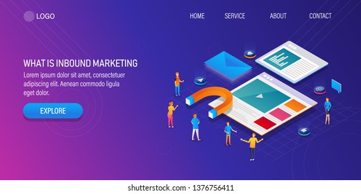 What is inbound marketing, Concept of digital inbound marketing, Lead generation strategy, 3D isometric background