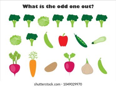 What is the odd one out for children, vegetables in cartoon style, fun education game for kids, preschool worksheet activity, task for the development of logical thinking, vector illustration