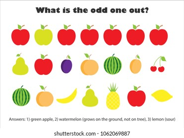 What is the odd one out for children, fruit in cartoon style, fun education game for kids, preschool worksheet activity, task for the development of logical thinking, vector illustration