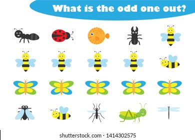 What is the odd one out for children, insects theme in cartoon style, fun education game for kids, preschool worksheet activity, task for the development of logical thinking, vector illustration