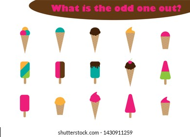 What is the odd one out for children, ice cream theme in cartoon style, fun education game for kids, preschool worksheet activity, task for the development of logical thinking, vector illustration