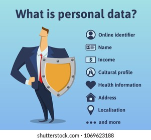 What is personal data. What information is under the protection of the rules of the GDPR. General Data Protection Regulation. The man with the shield. Vector infographics illustration.