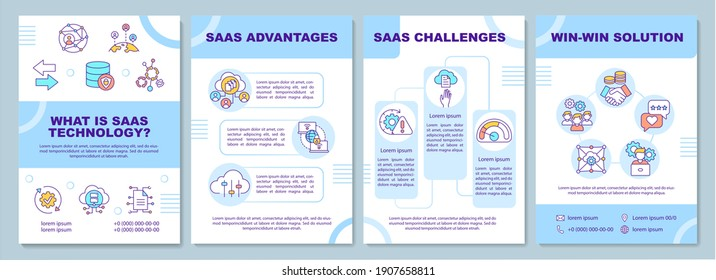 What is SaaS technology brochure template. SaaS Advantages. Flyer, booklet, leaflet print, cover design with linear icons. Vector layouts for magazines, annual reports, advertising posters