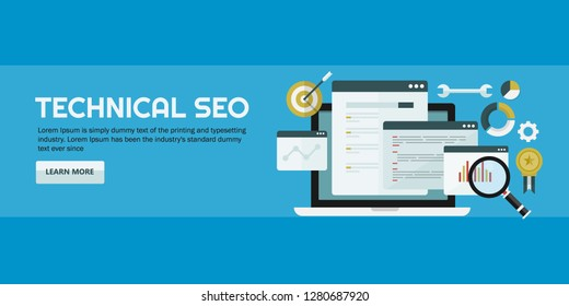 What is SEO - Technical SEO - SEO Knowledge - flat design vector banner with icons and texts