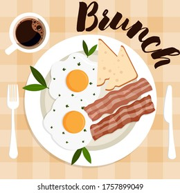 What a typical brunch plate looks like. English brunch: tasty bacon, fried eggs with green parsley on white plate. Top view on a tablecloth background
