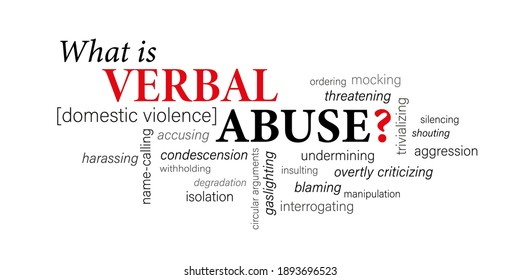 WHAT IS VERBAL ABUSE? [DOMESTIC VIOLENCE] black and gray vector word cloud