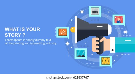 What is your story, visual storytelling, infographic concept flat vector banner with icons