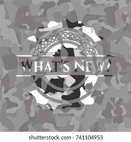 What's New? on grey camo pattern