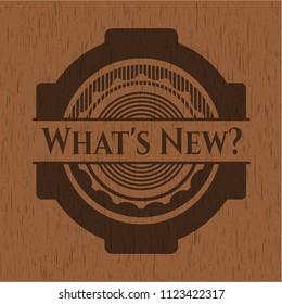 What's New? retro wood emblem