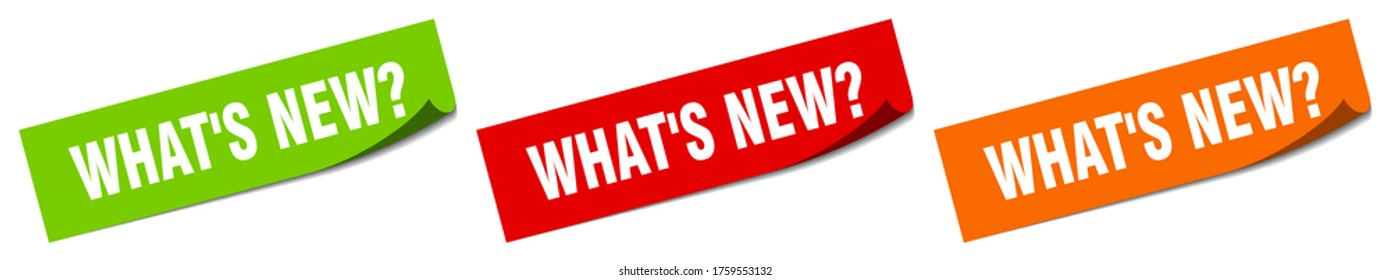 what's new? sticker. what's new? square isolated sign. what's new? label