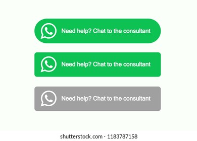 Whatsapp chat icons. Messenger consultant. Plugin for site. Vector illustration. EPS 10