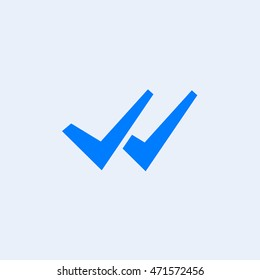 WhatsApp delivered message icon, two check sign vector, mobile application user interface element