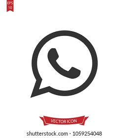 Whatsapp icon,Whatsapp Logo sign isolated on white background.Simple whatsapp media illustration for web and mobile platforms.