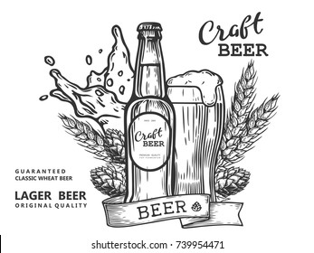 Wheat beer ads, beer bottle and glass with beer and ribbon. Vintage vector engraving illustration for web, poster, invitation to party. Hand drawn design element isolated on white background.