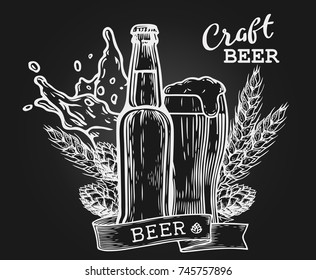 Wheat beer ads, beer bottle and glass with beer and ribbon. Vintage vector engraving illustration for web, poster, invitation to party. Hand drawn design element isolated on dark background.