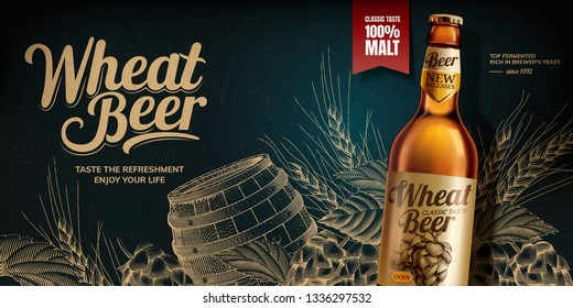 Wheat beer ads on blackboard background with engraved hops and barrel, 3d illustration glass bottle