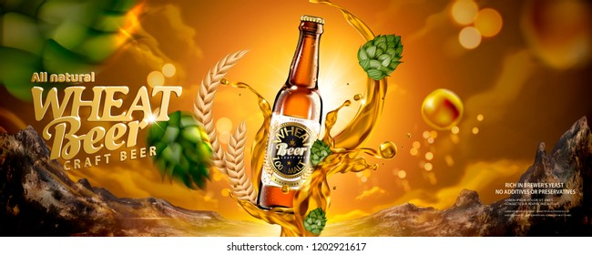 craft beer ads exquisite bottled beer のベクター画像素材