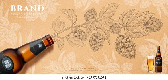 Wheat beer bottle in 3d illustration lying over retro style hops engraving design background