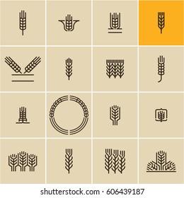 Wheat ear icon set, wheat ears, cereals,