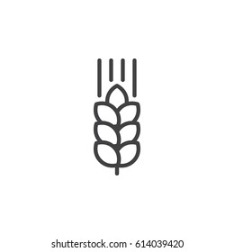 Wheat ear line icon, outline vector sign, linear style pictogram isolated on white. Symbol, logo illustration. Editable stroke. Pixel perfect
