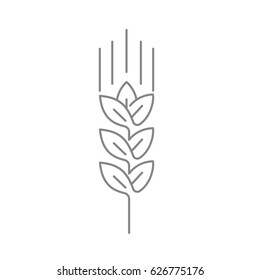 Wheat ear line icon, outline vector logo illustration