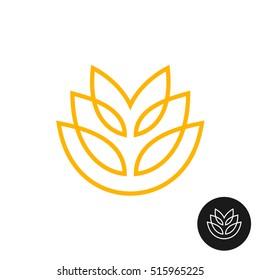 Wheat ear linear style logo. Thin line bakery symbol.
