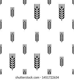 Wheat Ear Spica Icon Seamless Pattern Vector Art Illustration