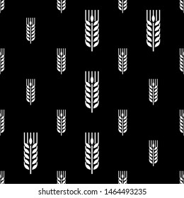 Wheat Ear Spica Icon Seamless Pattern Vector Art Illustration