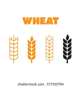 Wheat ear symbols. Wheat ear vector sign