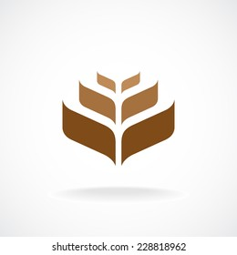 Wheat ear technical logo template. Construction or building sign.