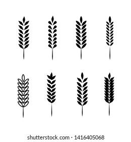 Wheat Ears Icons and Logo Set. For Identity Style of Natural Product Company and Farm Company. Organic wheat, bread agriculture and natural eat.