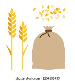 Wheat ears, jute bag with grain and a handful of wheat grains flat single icon vector isolated on white