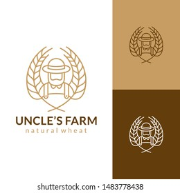 wheat farmer logo.vintage retro line art style.agriculture farm symbol