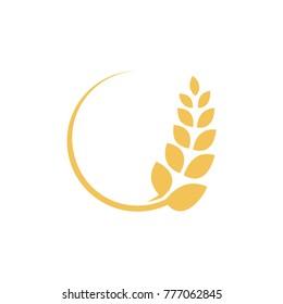 Wheat farming logo design template