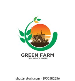 Wheat farming logo with tractor vector and sun
