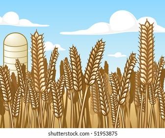 Wheat Field - vector illustration