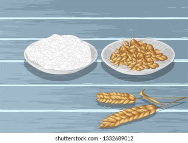 Wheat and flour on wooden table. 10 EPS