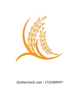 Wheat grain agriculture logo design template vector illustration