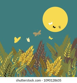 Wheat grains with night sky with the sun and butterflies. Vector illustration of grain on blue background.
