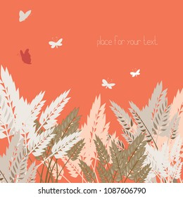 Wheat grains with red sky and butterflies. Vector illustration of grain on red background.